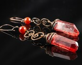 Red Copper Earrings with Blood-Quarz / Magical Jewelry with colored Rock Crystal / Vampire Victorian Style