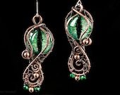 Green Copper Dragoneye Earrings of Nature / Wire Wrapping Fantasy Jewelry / Antique looking Accessoire with dark patina