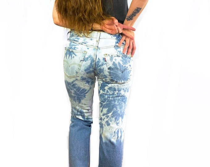 Levi's 505 Custom Bleached & Destroyed Reverse Ombre Jeans