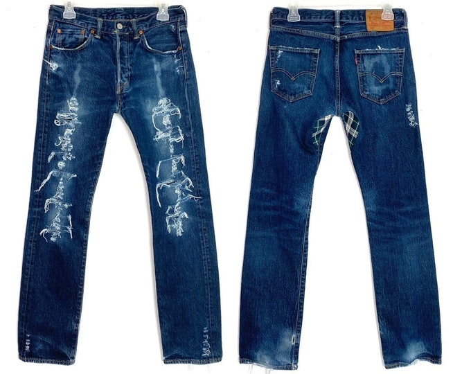 Levi's 501 Custom Bleached & Totally Destroyed Denim Jeans 1990s Grunge Inspired Size 28 Unisex Free Shipping