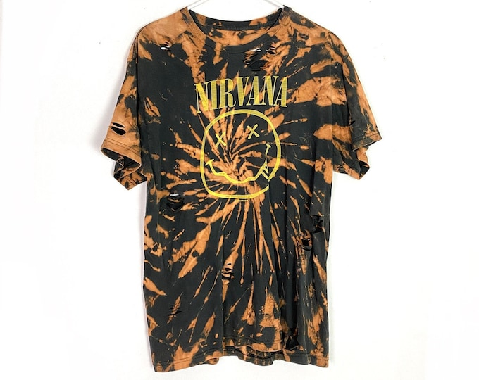 Nirvana Distressed Upcycled Custom Spiral Bleached Face Tshirt Unisex Large Free Shipping