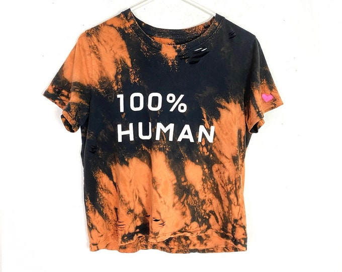 Upcycled 100% Human Distressed Bleached Boxy T-shirt Womens Small Free Shipping