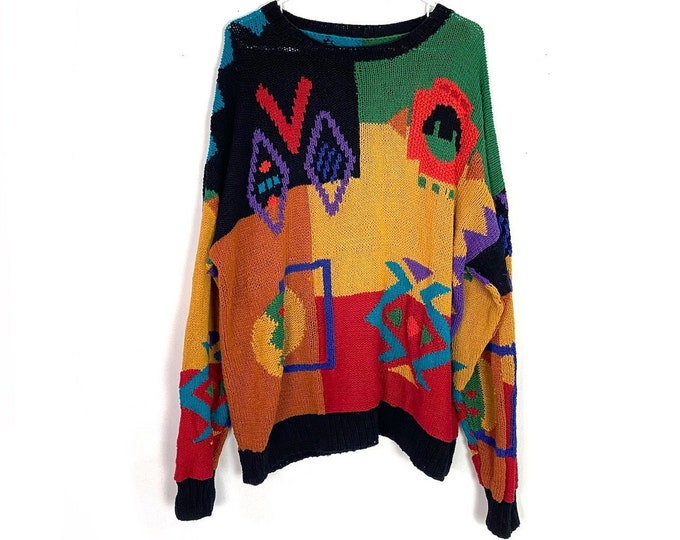 Vintage 80s Multicolored Artsy Oversized Pullover Sweater Womens Extra Large Free Shipping