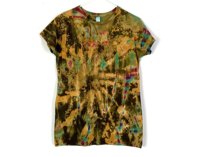 Custom Bleached & Tie Dyed 90s Rocker Style Cotton Tee