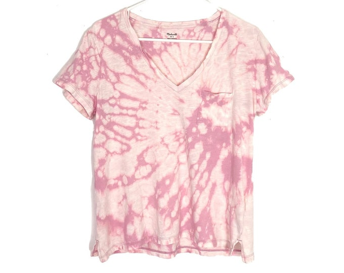 Madewell Custom Tie Dyed Whisper Cotton V Neck Tshirt Pink Womens Large Upcycled Free Shipping