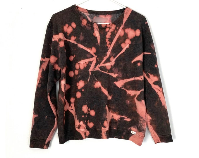 Tie Dyed & Bleached Pullover Crewneck Womens Sweatshirt One Of a Kind (Recycled)