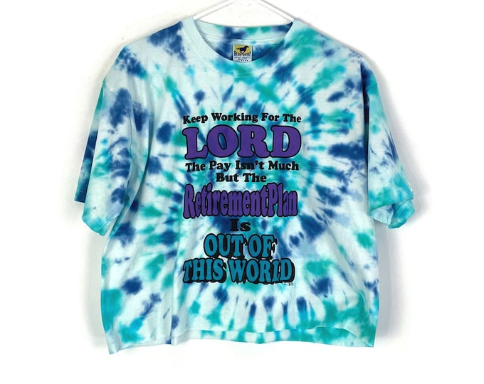 VINTAGE 1992 Lord Tie Dyed Cute Custom Upcycled Cropped Tee (Recycled Tee)