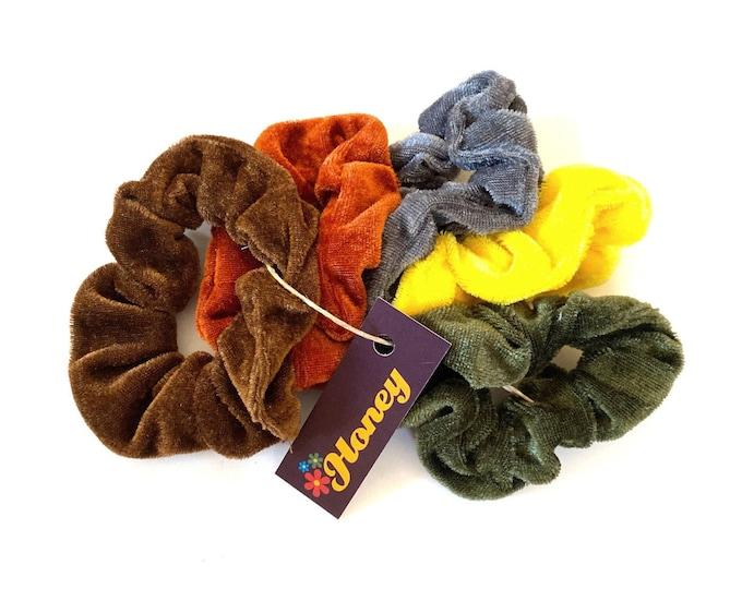 Hair Scrunchie: Velvet in Vintage 70s Colors