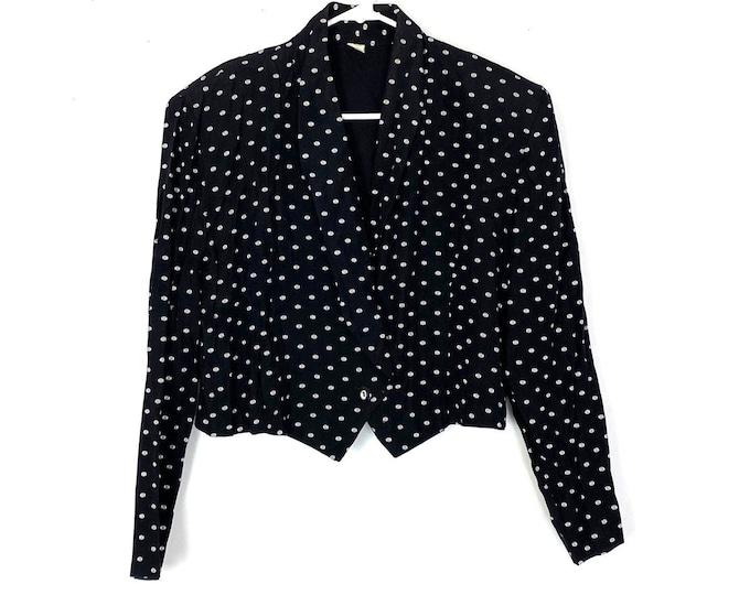 Vintage 80s Polka Dot Union Label Long Sleeve Cropped Blazer Jacket Womens Large