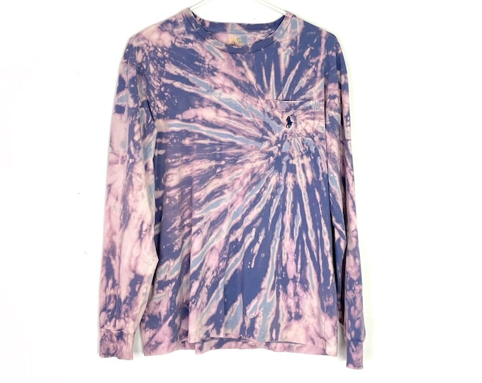 Custom Tie Dyed Ralph Lauren Polo Long Sleeve Tshirt Unisex Medium Purple Pink Blue Free Shipping