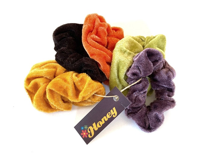 Hair Scrunchie: Velvet in Vintage 70s & 90s Colors