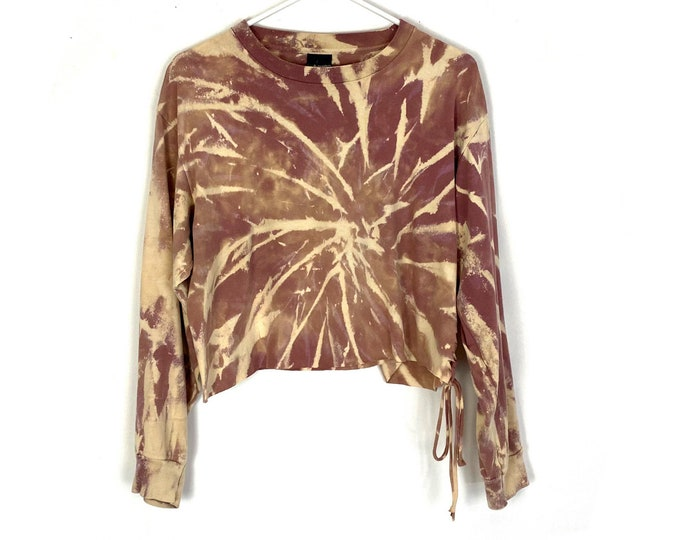 Boxy Crop Custom Bleached Upcycled Braided Long Sleeved Tee Womens (Recycled Tee)