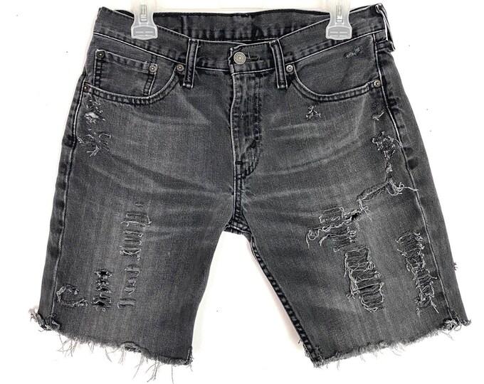 Levi's Upcycled Custom Distressed Frayed Black Denim Jean Shorts Unisex Size 29 Free Shipping
