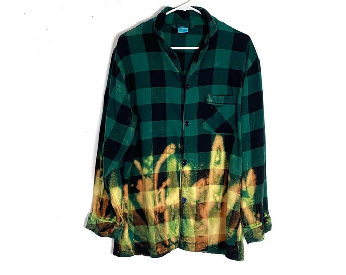Flannel Button Down Pajama PJ Shirt Custom Upcycled Ombre Bleached Green Black Buffalo Plaid Long Sleeve Mens Large Unisex Free Shipping
