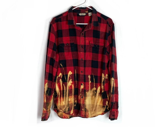 Flannel Button Down Shirt Custom Ombre Bleached Red Black Orange Buffalo Plaid Long Sleeve Unisex Large Boho Top Free Shipping