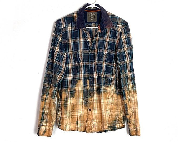 Plaid Ombré Custom Bleached Boho Upcycled Button Down Cotton Shirt Mens Slim Medium Unisex Blue Cream Bohemian Free Shipping