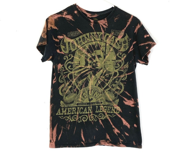 Johnny Cash Custom Upcycled Bleached Graphic Print Tshirt Unisex (Recycled)