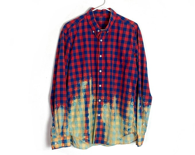 Light Weight Plaid Ombre Custom Bleached Button Down Red Blue Cotton Shirt Long Sleeve Mens Large Top Upcycled Free Shipping