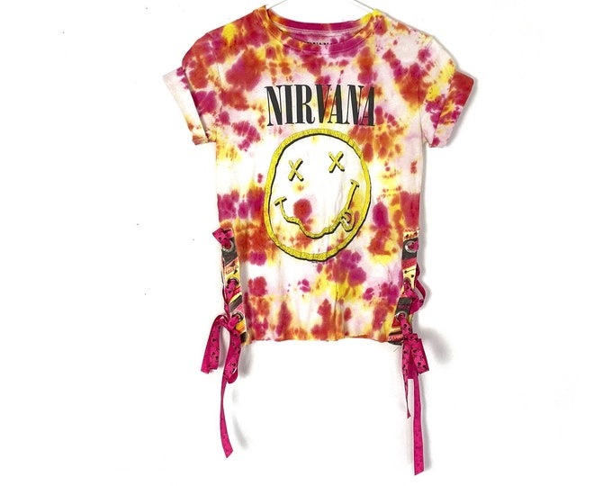 NIRVANA Custom Tie Dyed 90s Rocker Style Cotton Tee Lace Up Sides