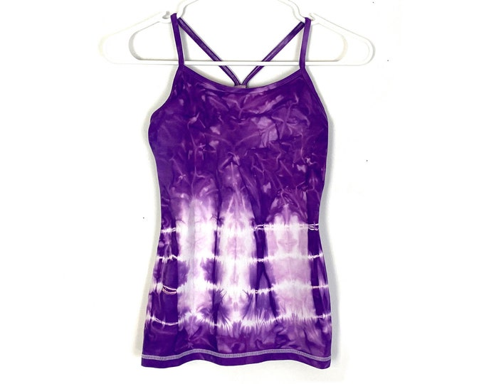 Ivivva by Lululemon Power Y Racerback Custom Tie Dyed Ombre Tank Top Built in Bra White Purple Kids Girls Size 12