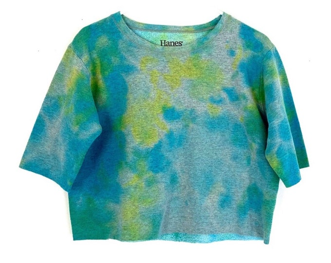 Cropped Sweatshirt Custom Tie Dyed with Cut Off Sleeves