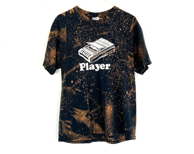 Vintage: Player (Tape Player) UNISEX Custom Bleached 90s Rocker Style Cotton Tshirt (Recycled Tee)