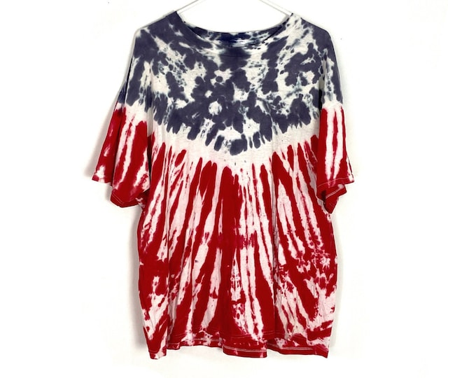 Americana Custom Tie Dyed Oversized Tshirt Red White Blue American Flag Womens XL Free Shipping