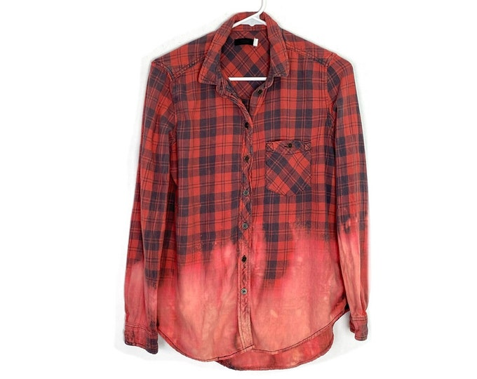 Plaid Ombré Custom Bleached Boho Button Down Shirt Unisex Small Red Blue Free Shipping