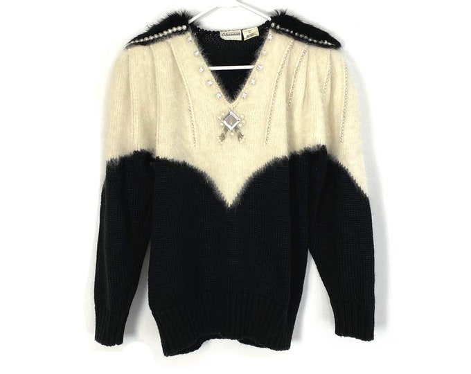 Vintage 80s Long Sleeve Elegant Beaded Women's V Neck Sweater With Shoulder Pads Black Cream