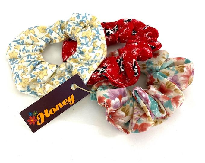 Vintage 90s Fabrics Hair Scrunchie Printed: Handmade
