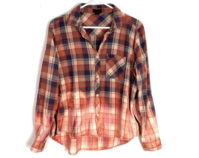 Light Weight Plaid Button Down Shirt Custom Bleached Ombre Long Sleeve Side Zip Women's Large Free Shipping