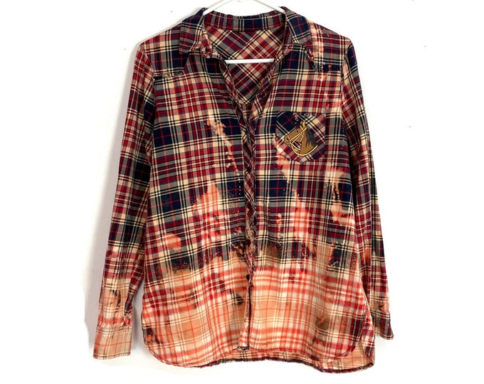 Upcycled Plaid Ombre Custom Bleached Button Down Shirt Horse Embellishment Long Sleeve Womens Red Medium Free Shipping