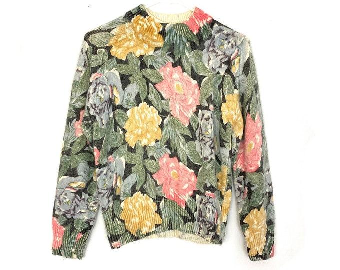 Vintage 90s Silk Angora Blend Floral Print Mock Neck Pullover Womens Sweater