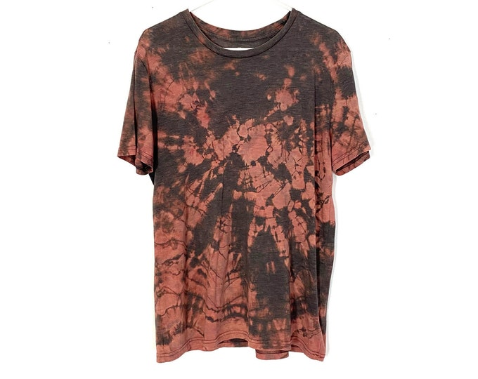 Upcycled Custom Bleached Rocker Style Tee Mens Slim Fit Large Handmade Unisex Style Free Shipping