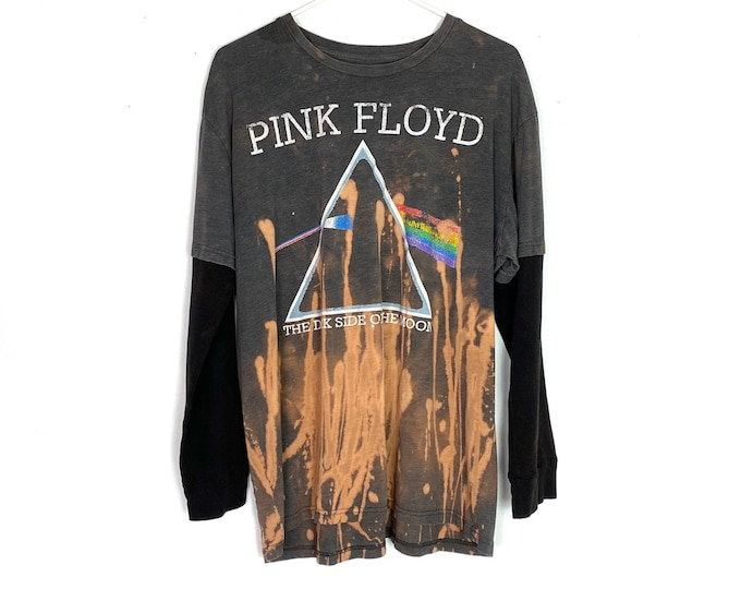Pink Floyd Dark Side Of The Moon Ombre Tie Dye Bleached Long Sleeve Thermal Tshirt Unisex Large Free Shipping
