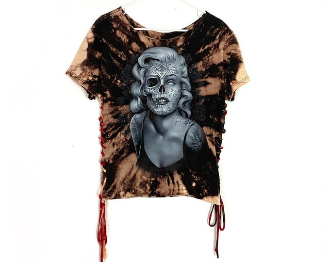 Halloween Marilyn Monroe Skeleton Custom Bleached Braided Sides Tshirt Womens Small Free Shipping