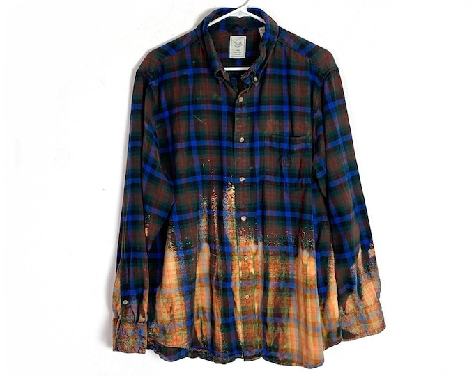 Flannel Button Down Shirt Custom Upcycled Ombre Bleached Blue Green Black Red Plaid Long Sleeve Mens XL Unisex Rock Boho Top Free Shipping
