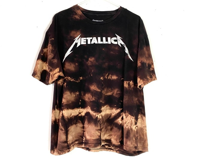 Metallica Ombre Bleached Upcycled Tshirt Womens XXL Free Shipping
