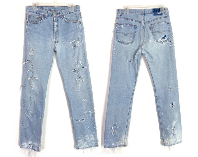 Levi's Vintage 505 Totally Distressed Torn Up Denim Jeans 29 30 Unisex Free Shipping