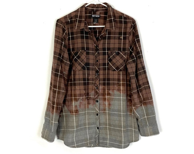 Skull Lace Cut Out Plaid Ombre Custom Bleached Button Down Grey Flannel Shirt Long Sleeve Womens XL