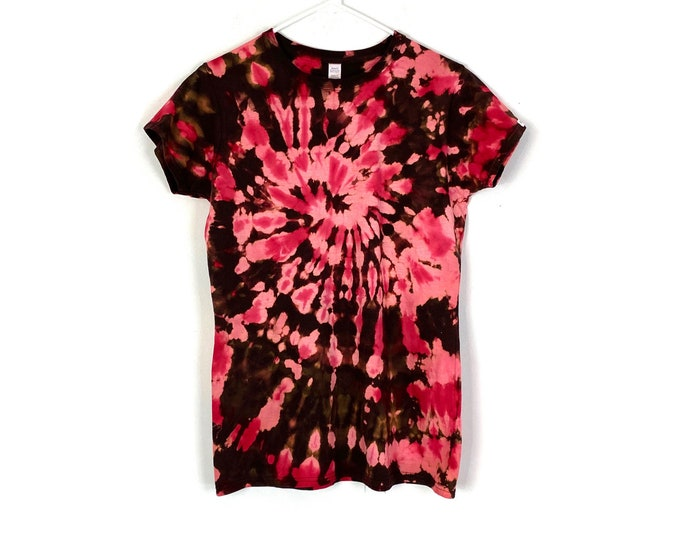 Custom Tie Dyed & Bleached 90s Rocker Style Cotton Tee