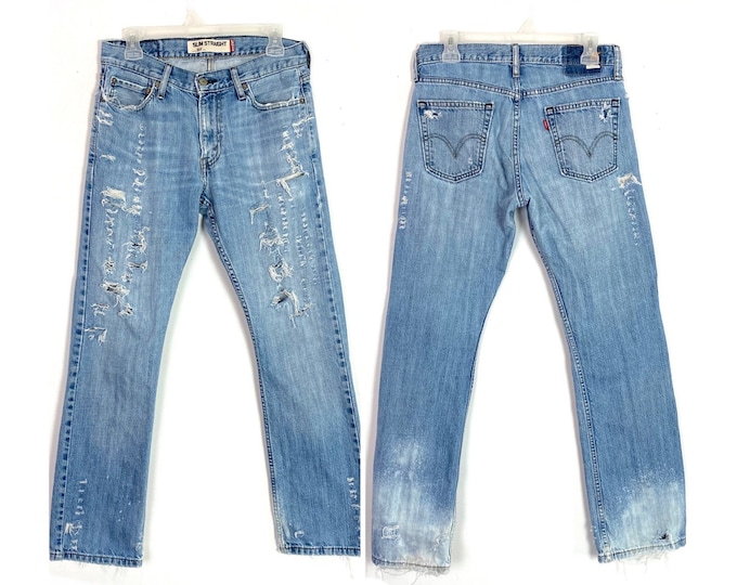 Levi's Upcycled 514 Slim Straight Denim Jeans Totally Distressed Torn Up Size 28 Unisex Free Shipping
