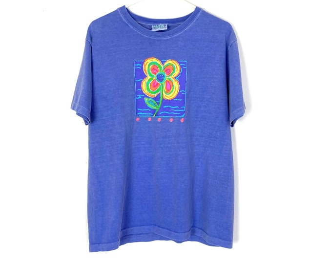 Vintage 90s Nerdy Neon Flower Tee Made in USA Womens