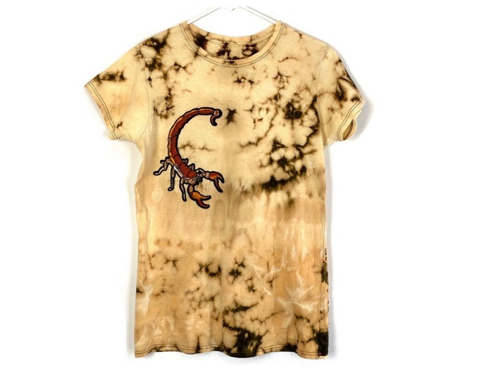 Upcycled Custom Bleached Scorpion Applique Tshirt (Recycled Tee)