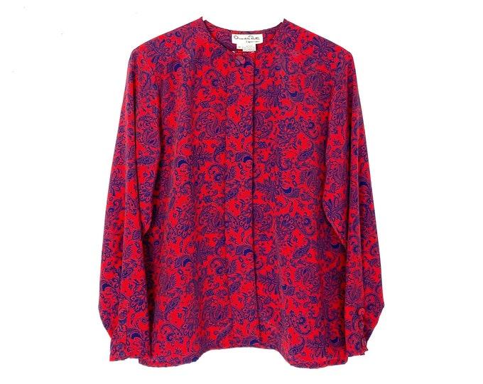 Vintage 80s Oscar De La Renta Paisley Print Blouse Red Blue