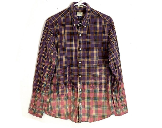 Upcycled Plaid Ombre Custom Bleached Button Down Shirt Long Sleeve Unisex Medium Free Shipping