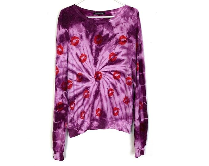 WILDFOX Custom Spiral Tie Dyed Lip Print Pullover Sweatshirt Jumper Medium Womens Purple