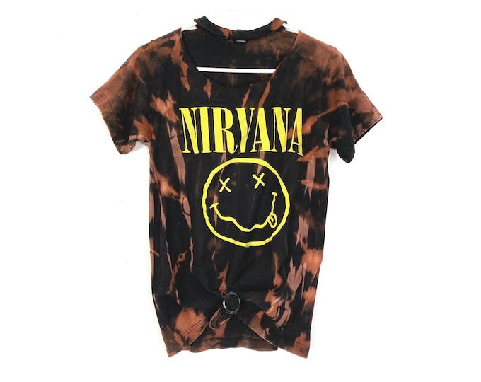 NIRVANA 2012 Custom Bleached 90s Rocker Style Cotton Tee Choker Neckline With Tshirt Tie
