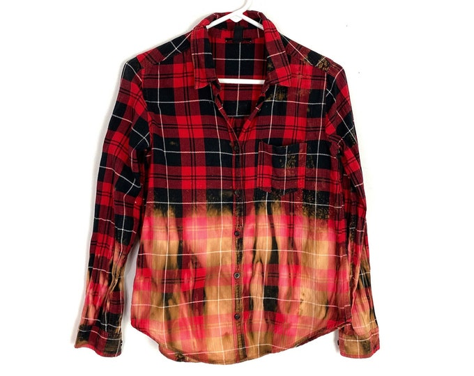 Light Weight Flannel Button Down Shirt Womens Custom Bleached Ombre Plaid Long Sleeve Small Red Black Free Shipping