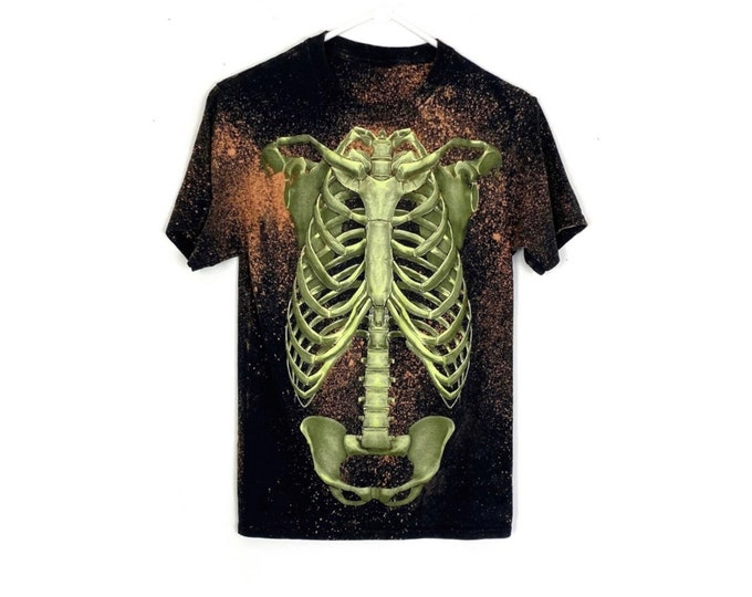 Upcycled Custom Bleached Rib Cage Bleached Tee UNISEX